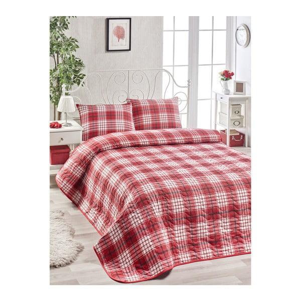 Set cuvertură de pat și față de pernă din bumbac Muro Gerro, 160 x 220 cm, roșu
