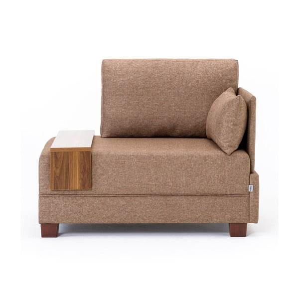 Brązowy fotel z podłokietnikiem po prawej stronie i blatem Balcab Home Martha