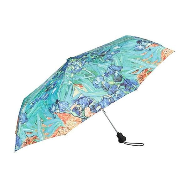 Tyrkysový skládací deštník Von Lilienfeld Irises, ø 90 cm