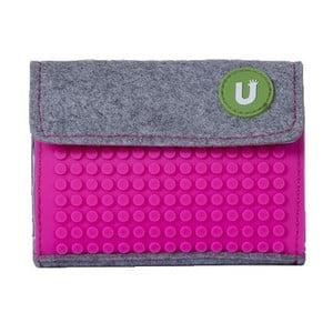 Pixelová peněženka grey/fuchsia
