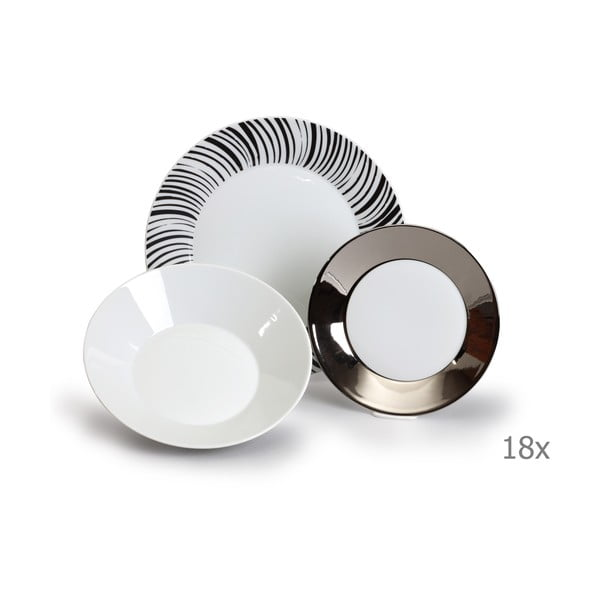 Sada 18 porcelánových talířů s černými proužky Thun Tom
