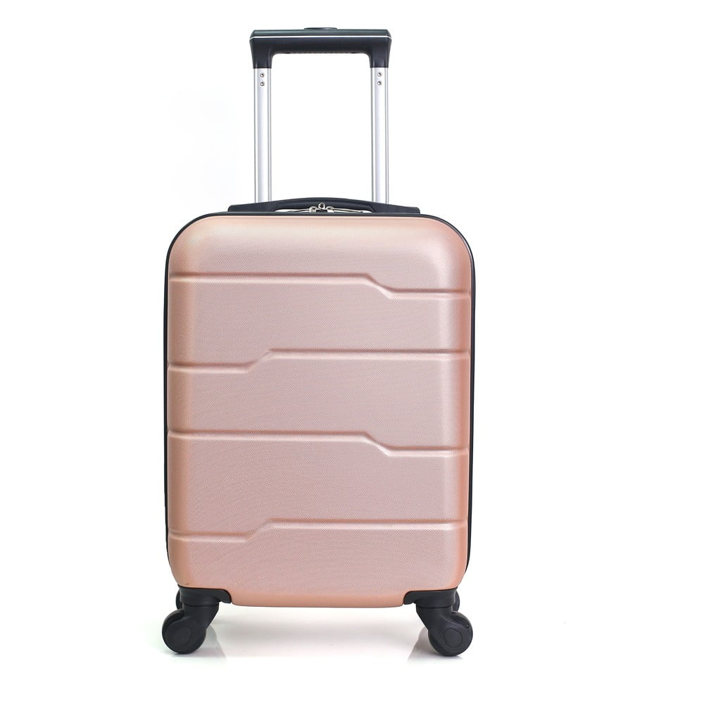 Růžovo-béžový cestovní kufr na kolečkách Hero Santiago, 30 l