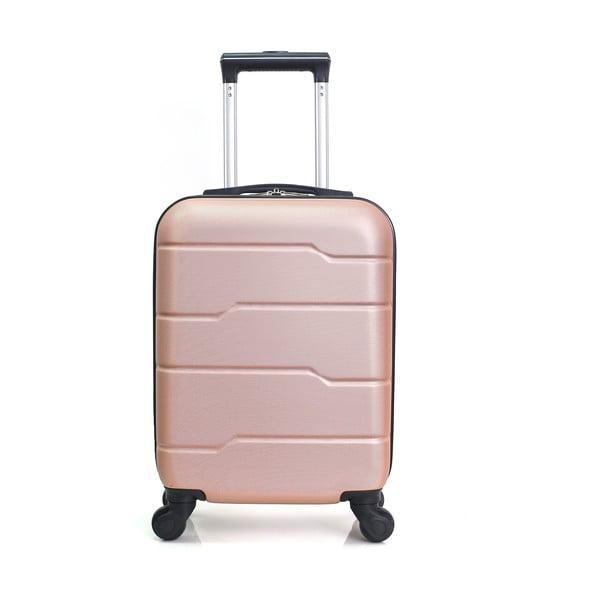 Ružovo-béžový cestovný kufor na kolieskach Hero Santiago, 30l