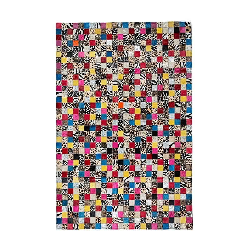Barevný koberec z hovězí kůže Patchwork, 180 x 120 cm