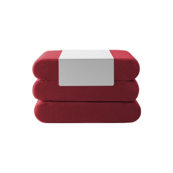 Tmavě červený rozkládací puf Softline Bingo Felt Red