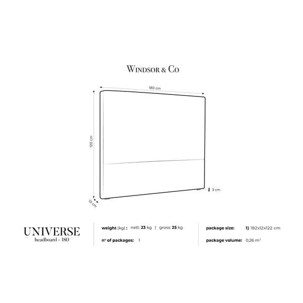 Světle šedé čelo postele Windsor & Co Sofas UNIVERSE, 180x120cm