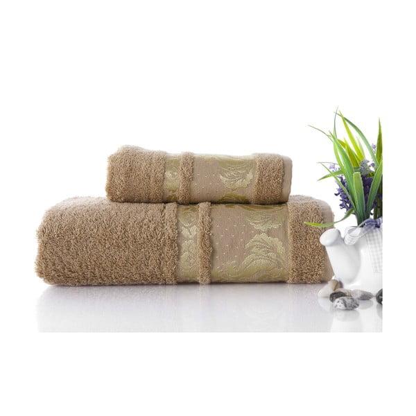 Set dvou ručníků Antik Gold Mocha, 70x140 a 50x90 cm