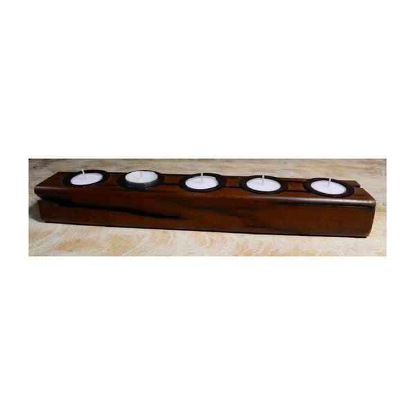 Svícen z mangového dřeva Indie, 38 cm