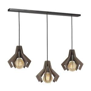 Černé závěsné svítidlo s dřevěným detailem Glimte Pat Tres Beech
