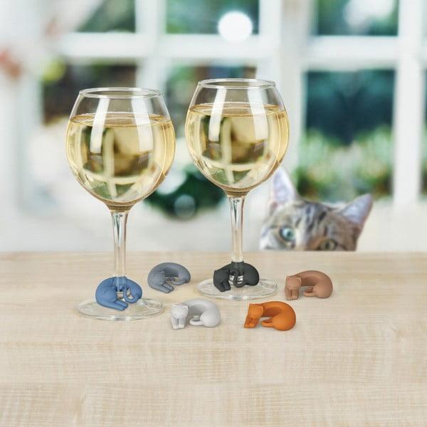 Sada 6 rozlišovačů na sklenice Fred & Friends Wine Lives