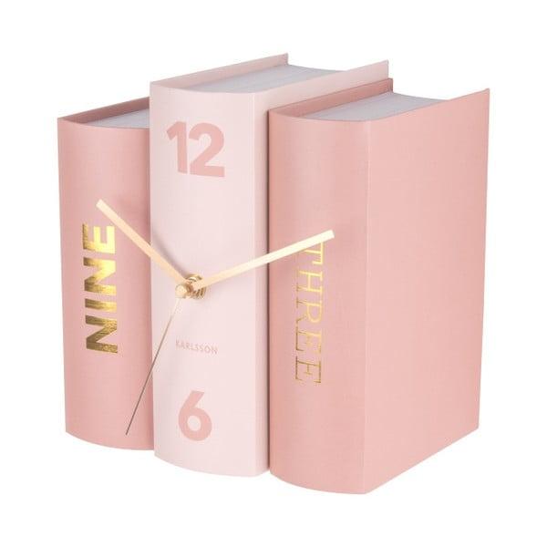 Rózsaszín könyv formájú asztali óra - Karlsson