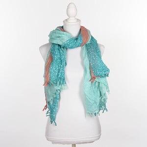 Šátek/pareo BLE Inart 100x180 cm, zelený/růžový