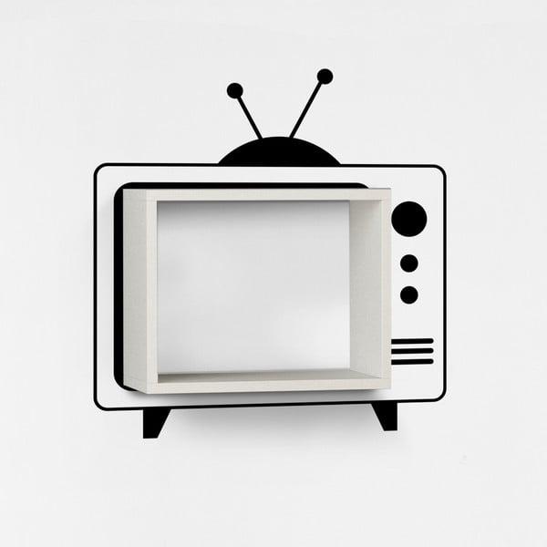 Nástěnná police se samolepkou TV, bílá