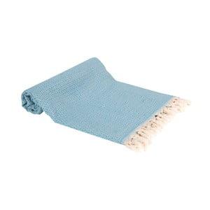 Tyrkysová ručně tkaná osuška Ivy's Emel, 100x180cm