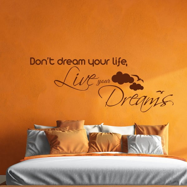 Czarna naklejka ścienna Ambiance Live Your Dreams Wall Decal, 55x110 cm