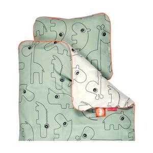 Lenjerie de pat pentru copii Done By Deer Contour, 100 x 130 cm, verde