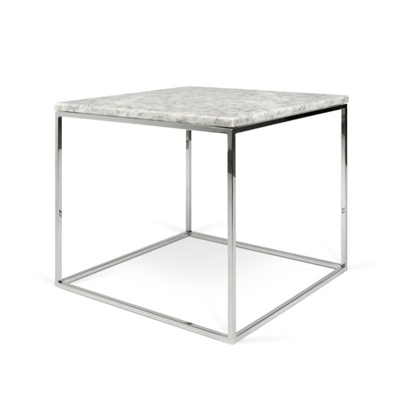 Bílý mramorový konferenční stolek s chromovými nohami TemaHome Gleam, 50 cm