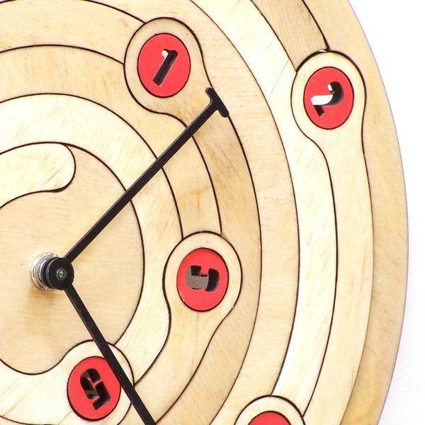 Dřevěné hodiny Spiral, 29 cm