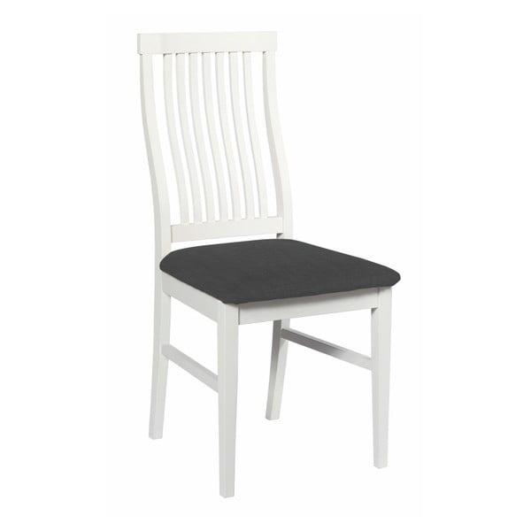 Białe krzesło z brzozy do jadalni z czarnym siedziskiem Rowico Kansas