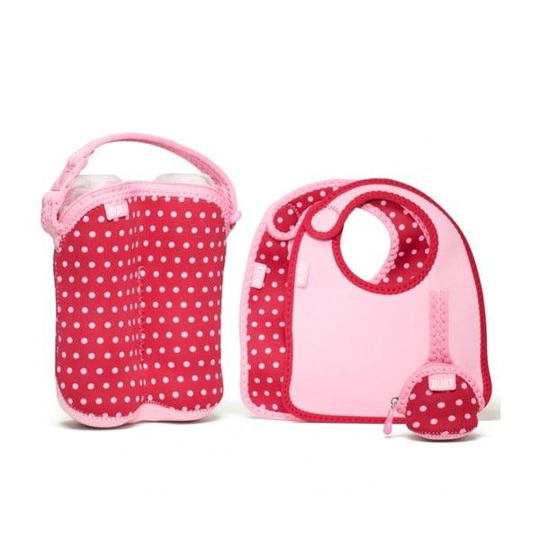 Set 2 bryndáčky, taška na 2 lahve a obal na 2 dudlíky, Baby Pink