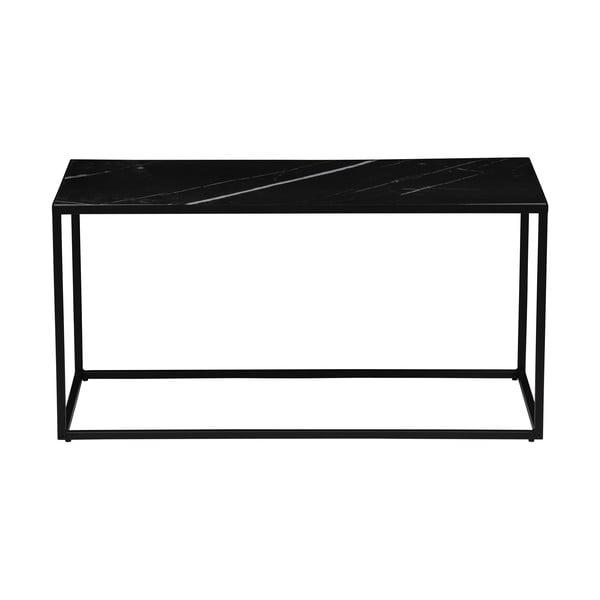 Černý odkládací stolek s deskou v dekoru mramoru vtwonen, 90 x 45 cm