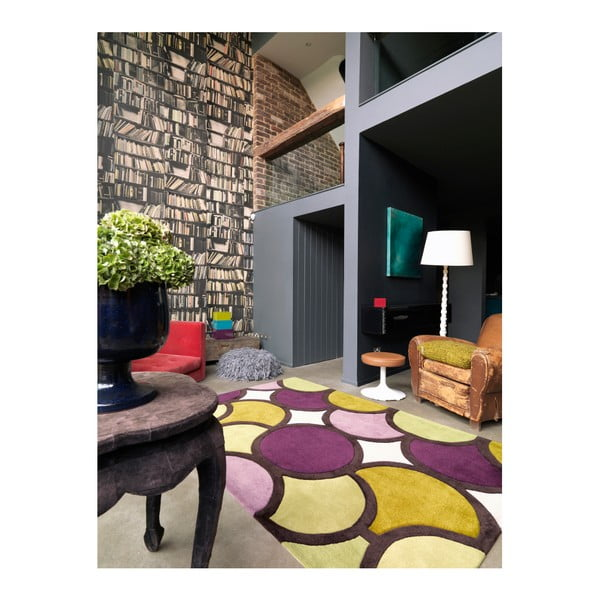 Koberec Asiatic Carpets Harlequin Bubble Purple Green, 90x150 cm