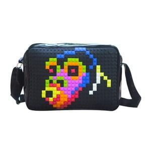 Pixelová messenger taška, black/black