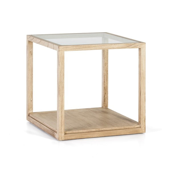 Světle hnědý odkládací stolek z lakovaného dřeva Thai Natura Delirium, 60 x 60 cm