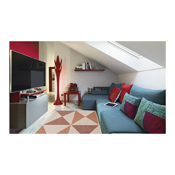 Covor foarte rezistent Floorita Geo, 135 x 190 cm, roșu