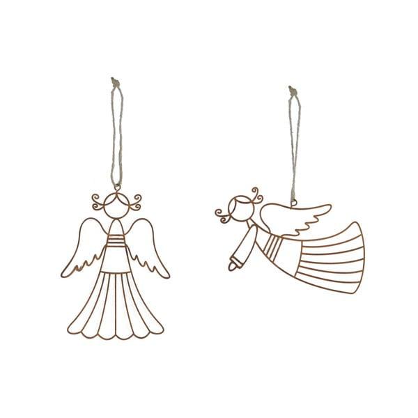 Set 2 závěsných vánočních ozdob ve tvaru anděla Ego Dekor