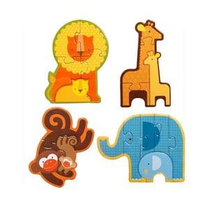 Sada 4 skládaček Petit collage Safari Babies