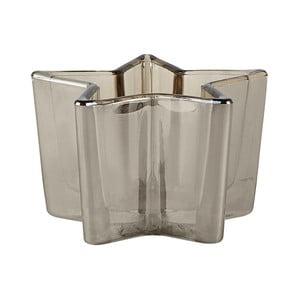 Kouřově šedý svícen na čajovou svíčku KJ Collection Star, ⌀11cm