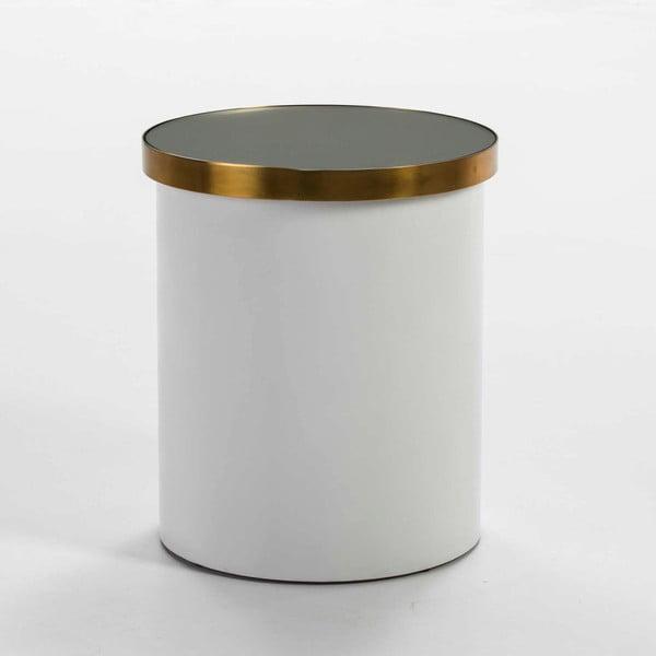 Bílý odkládací stolek s detailem ve zlaté barvě Thai Natura, ⌀43cm