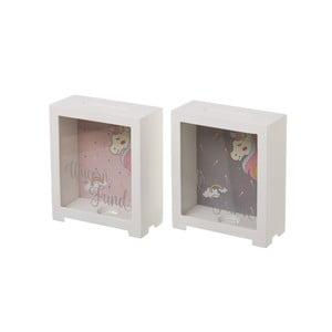 Sada 2 bílých kasiček s motivem jednorožce Unimasa