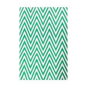 Vlněný koberec Zig Zag Green, 90x60 cm