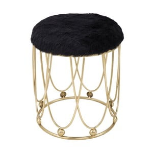 Černá pokstrovaná stolička s železnou konstrukcí ve zlaté barvě Mauro Ferretti Amelia
