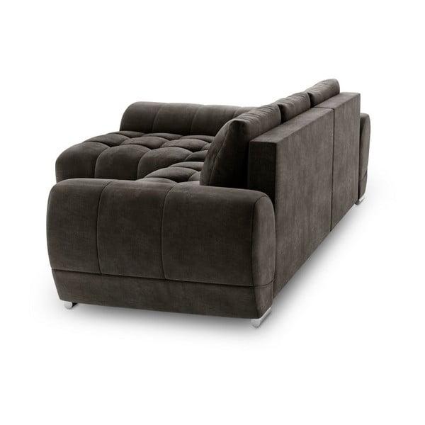 Canapea extensibilă cu înveliș de catifea Windsor & Co Sofas Nuage, pe partea stângă, maro închis