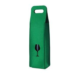 Plstěný obal na víno se skleničkou, zelený
