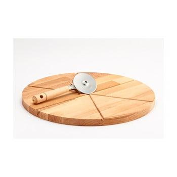 Tocător din lemn și tăietor pentru pizza Bisetti Pizza, ø 35 cm