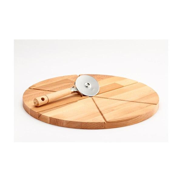 Zestaw deski do krojenia z drewna bukowego i noża do pizzy Bisetti, ø 35 cm