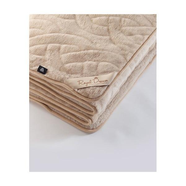 Hnědá deka z velbloudí vlny Royal Dream Camel Lines,140x200cm