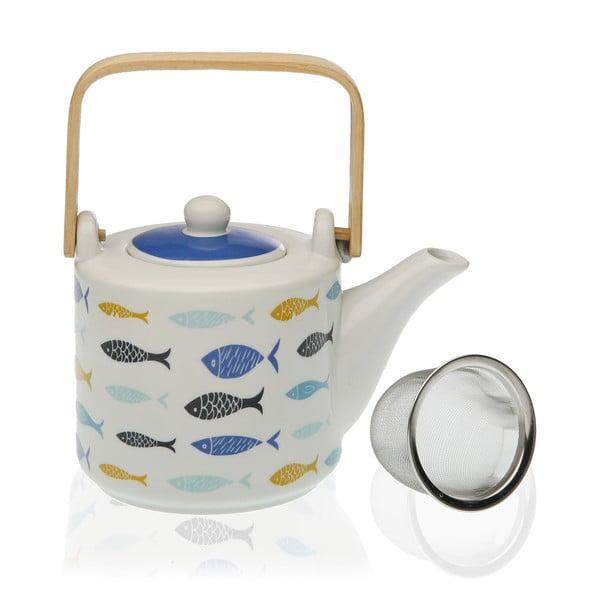 Porcelanowy dzbanek z sitkiem na herbatę Versa Blue Bay