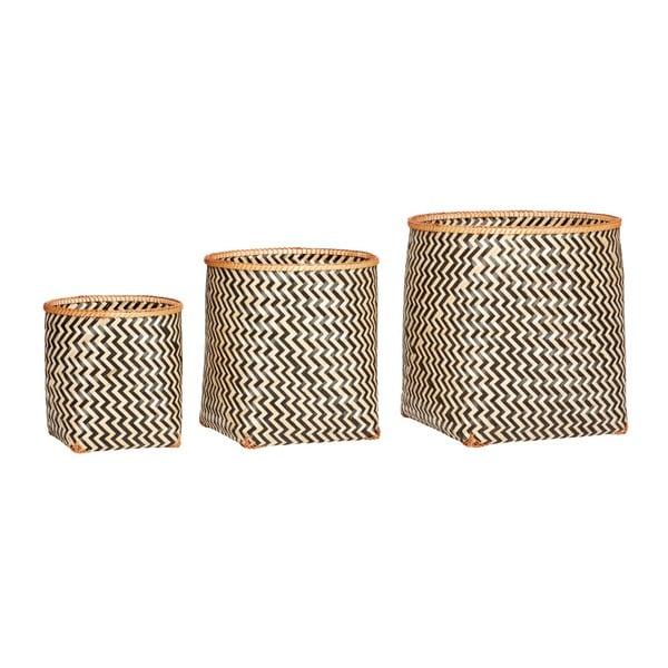 Set 3 coșuri din bambus Hübsch Yngve