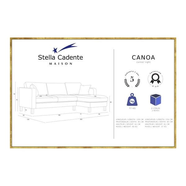 Modrá pohovka s lenoškou na pravé straně a 2 krémovými polštáři Stella Cadente Maison Canoa