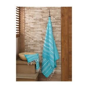 Sada mátově modrého ručníku a osušky Hammam Sultan