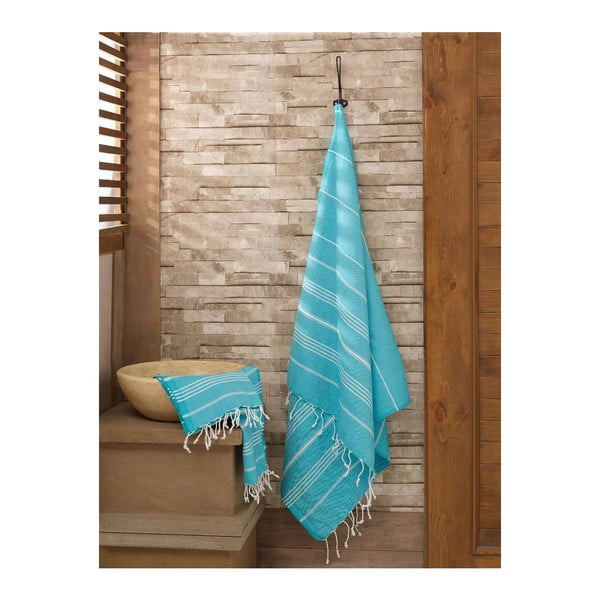 Sultan kék hamam kéztörlő és fürdőlepedő szett 100% pamutból