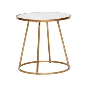 Odkládací stolek s bílou mramorovou deskou a podnožím ve zlaté barvě Hübsch Dana