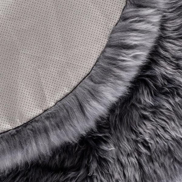 Šedý kulatý koberec z ovčí vlny Royal Dream Zealand,Ø70cm