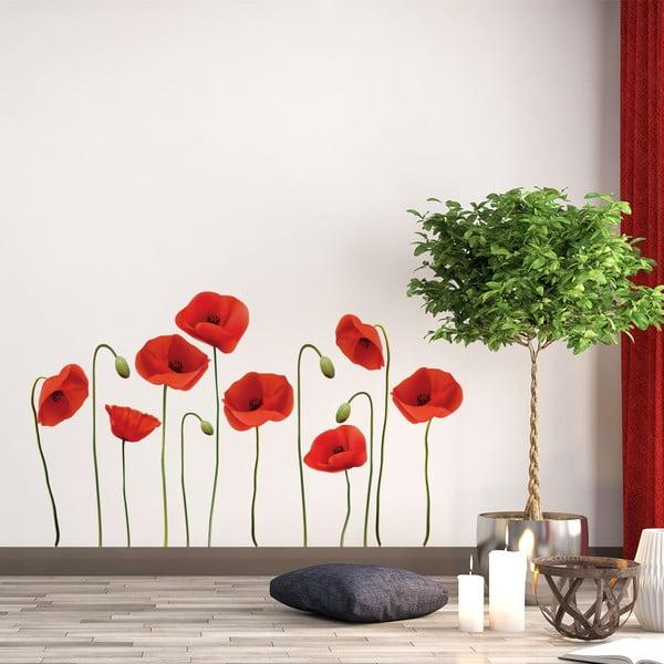 Set autocolante pentru perete Ambiance Vermeil Poppies, 60x70cm