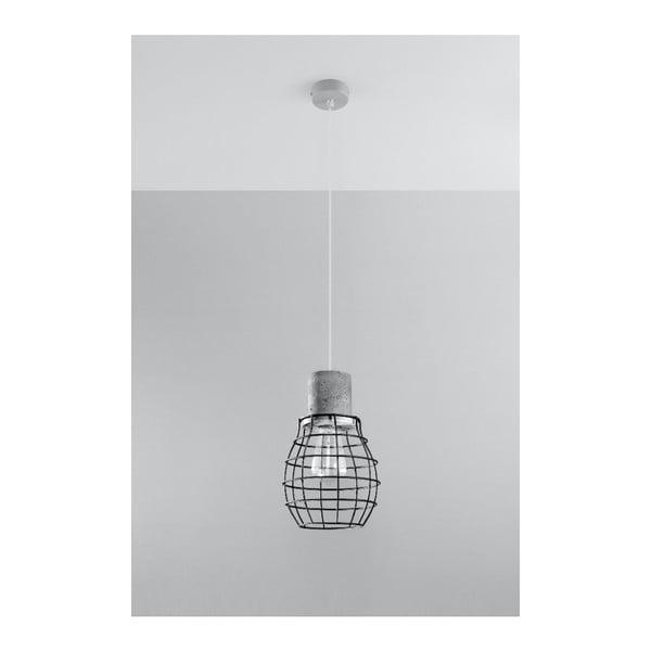 Šedočerné závěsné svítidlo s betonovou objímkou Nice Lamps Valerio
